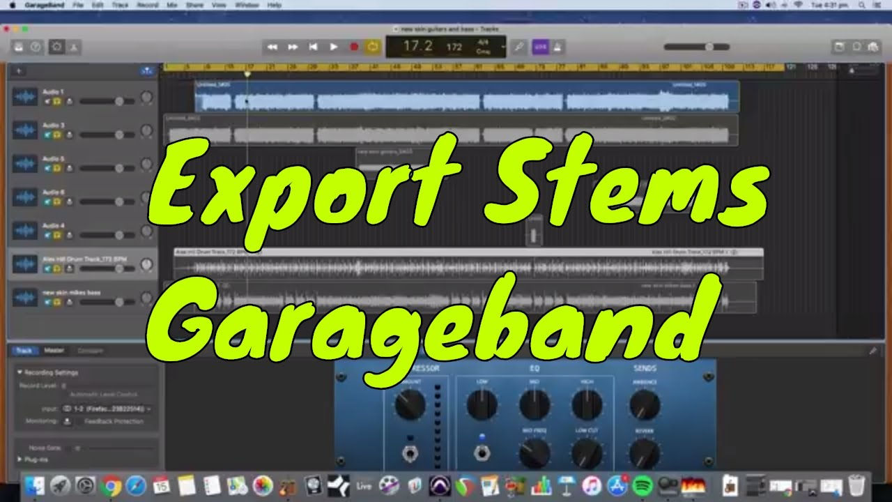 How to export audio stems from garage band