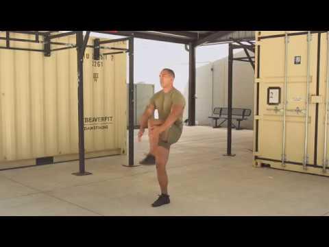 Marines Force Fitness-Walking Knee Hug