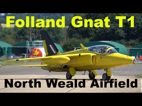 Folland Gnat T1 jet takeoff, low pass and landing G-MOUR