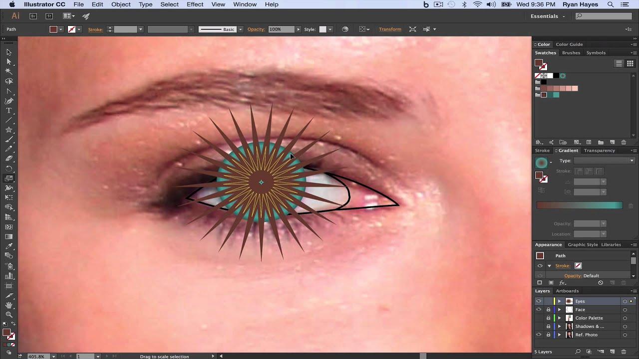 Illustrator Cc Vector Portrait 06 Eyes Iris Pt 1 Youtube