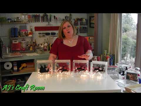 Lighted Glass Blocks with Vinyl - AJ's Craft Room(Holiday Craft Ideas)