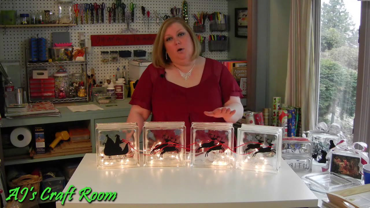 Lighted Glass Blocks With Vinyl Aj S Craft Room Holiday Craft Ideas Youtube