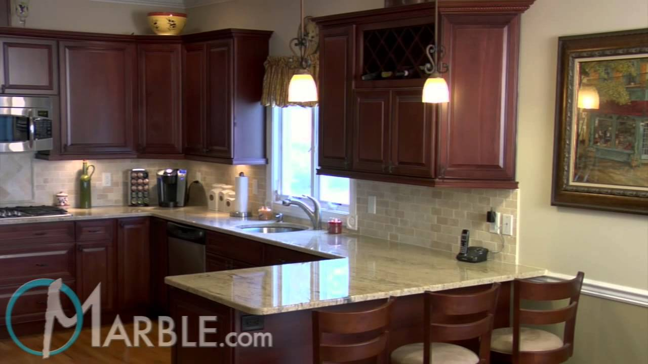 Kitchen Cherry Cabinets Cabinet Pulls And Handles Astoria Granite Countertops Ii By Marble.com - Youtube