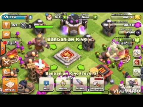 Clash Of Clans! Barbarian King LV. 5 And His Iron Fist! ! !