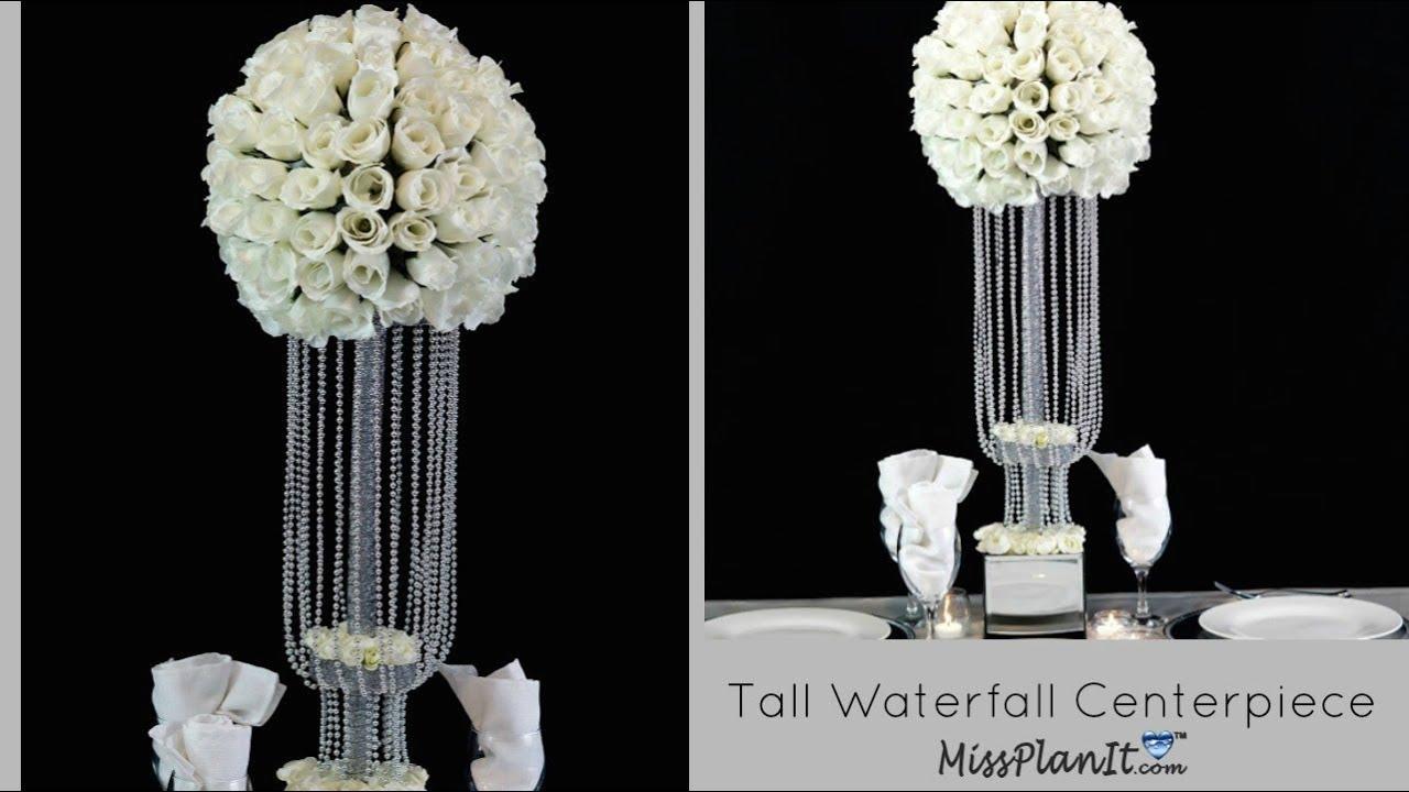 Diy tall waterfall wedding centerpiece decor