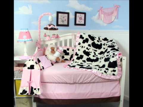 Pink Moo Moo Chenille Baby Crib Nursery Bedding Set 13 Pcs; Baby Bumper Sets