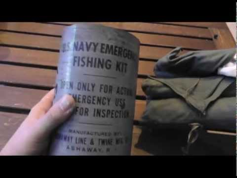 Wwii us navy emergency fishing kit youtube for Emergency fishing kit