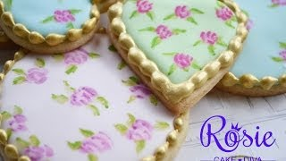 """""""Cath Kidston"""" Style Roses - Edible Painting On Cakes & Cookies Tutorial"""
