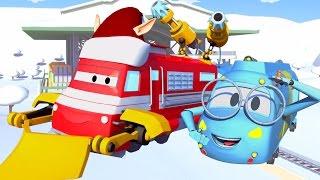 Поезд Трой и Снежный поезд в Автомобильный Город |Мультфильм для детей