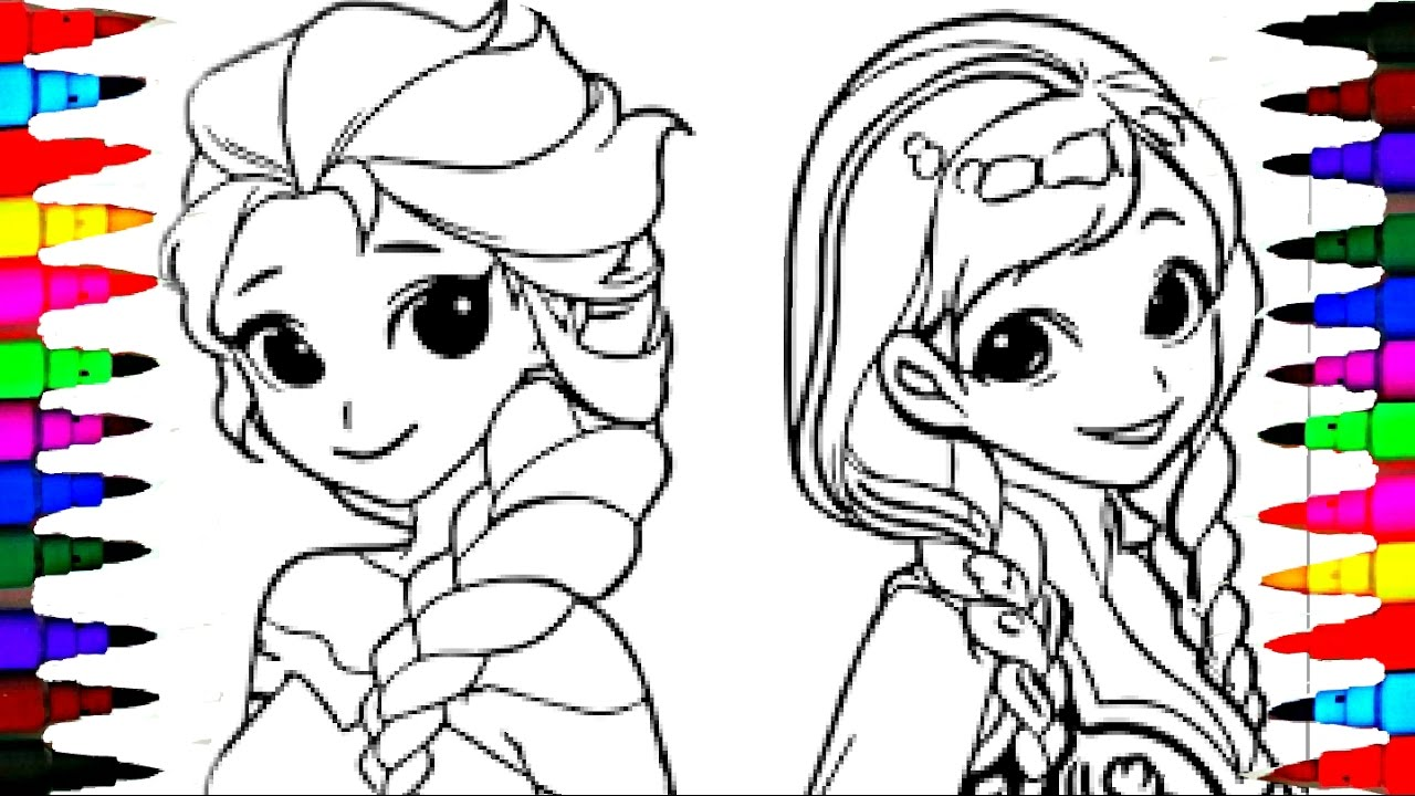 coloring pages disney frozen cartoon elsa and anna coloring book videos for children learning colors - Elsa And Anna Coloring Pages