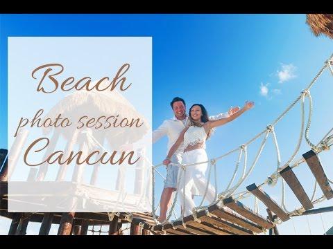 Beach photoshoot in Cancun. Honeymoon photo shoot ideas.