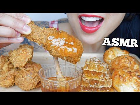 ASMR FRIED CHICKEN + HONEYCOMB (EXTREME EATING SOUNDS) NO TALKING   SAS-ASMR