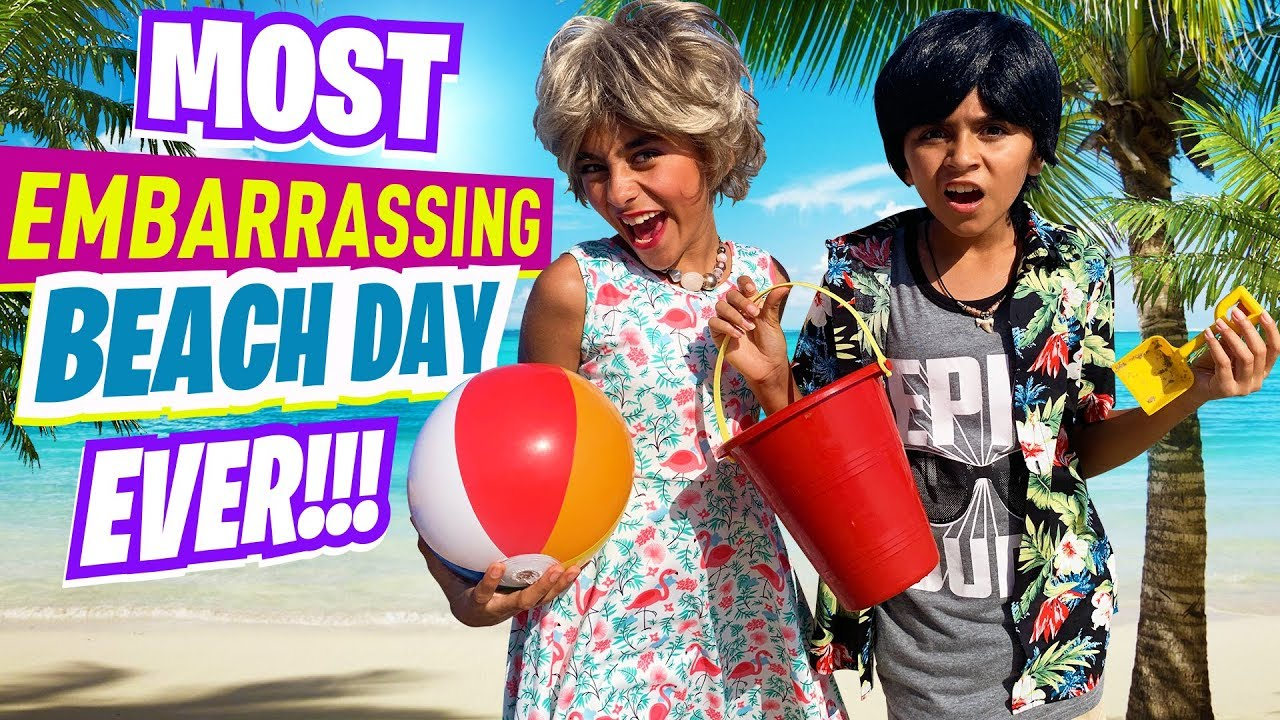 Download Embarrassing Beach Day - Summer Funny Skits - Miss Mom Vlogs : Sketch Comedy // GEM Sisters