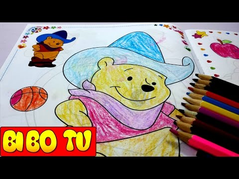 Coloring winnie the pooh for kids | How to coloring disney winnie the pooh ride