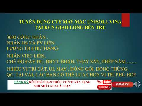 TUYỂN DỤNG - CTY MAY MẶC UNISOLL VINA