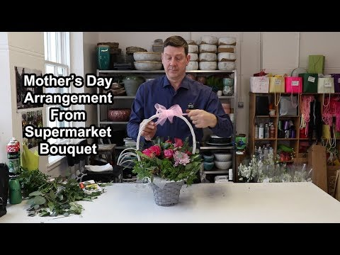 How To Make A Mother's Day Arrangement Out Of A Supermarket Bouquet