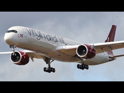 [4K] Virgin Atlantic's First A350-1000 Circuit Training At Glasgow Airport