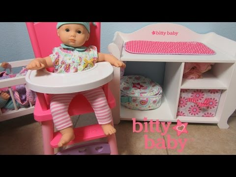American Girl Bitty Baby Doll Ella gets a new High Chair by You & Me!