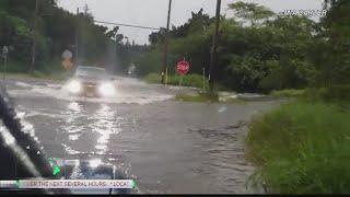 Heavy rain from Hurricane Lane triggers flash floods in East Hawaii