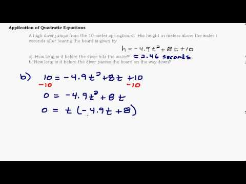 application of quadratic equations modeling and graphs youtube