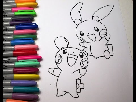 pokemon plusle and minun coloring pages electric pokemon plusle coloring page color it online