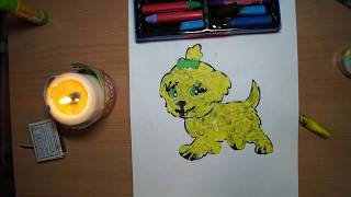 Энкаустика, нетрадиционная техника рисования восковыми мелками. Рисуем собаку