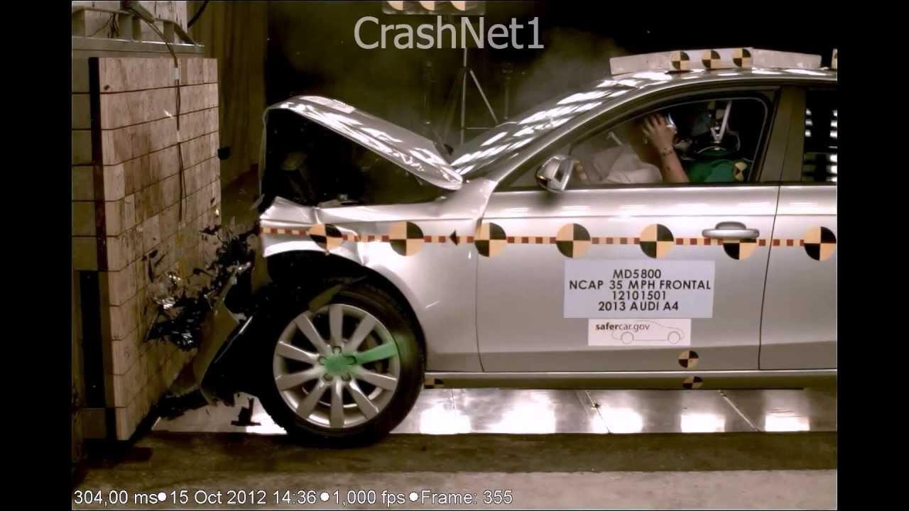 2013 audi a4 s4 frontal crash test by nhtsa crashnet1 youtube. Black Bedroom Furniture Sets. Home Design Ideas