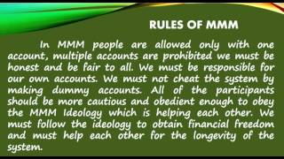 MMM IDEOLOGY, HOW IT WORKS, RULES AND BENEFITS By NORIEFE R. TAHAMIN