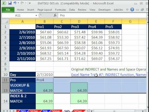 Excel Magic Trick #505: INDIRECT function 2-Way Lookup Date Trouble