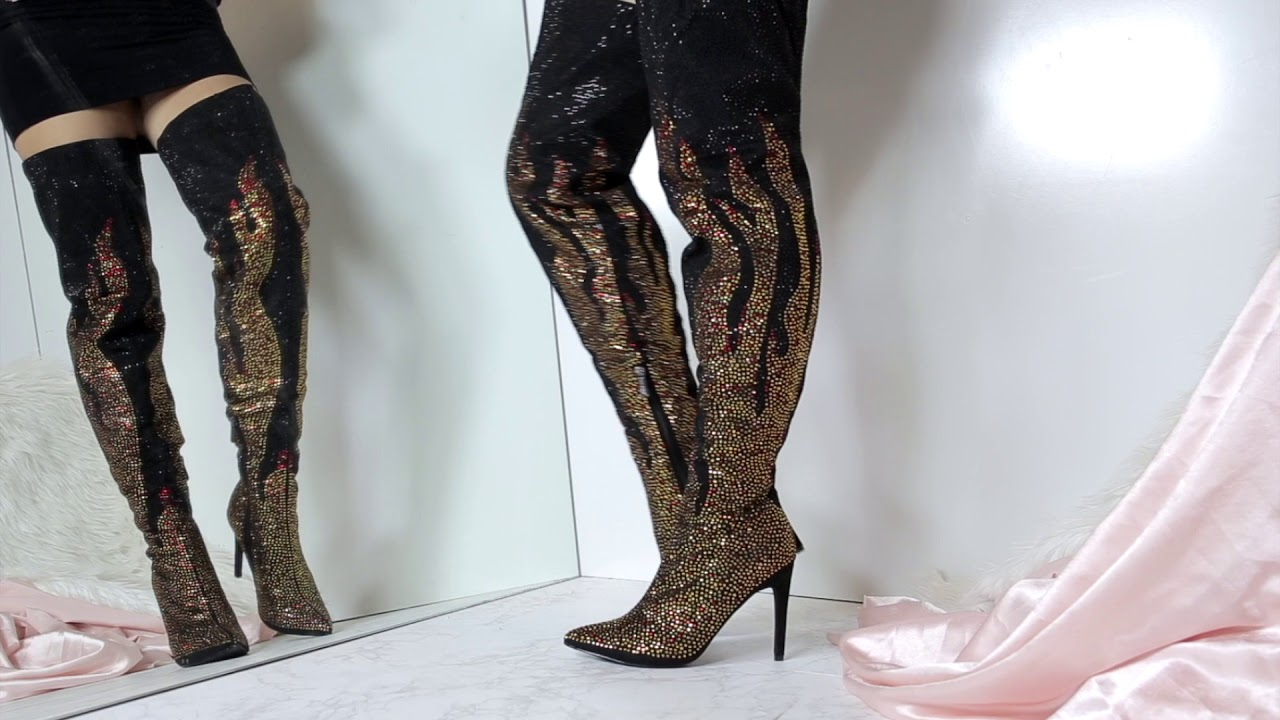 1f9ca047871 GIRL ON FIRE GLITTER OVER THE KNEE BOOTS - YouTube