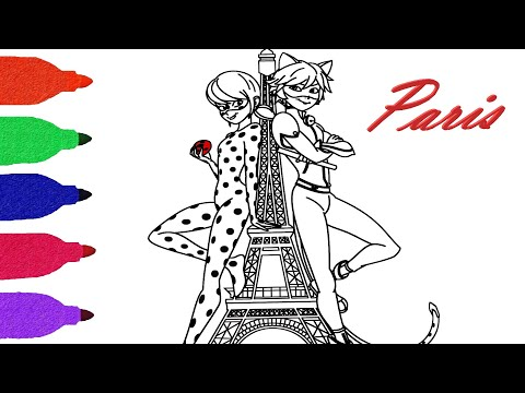 Miraculous Ladybug Paris And Cat Noir Love Coloring Book For Kids