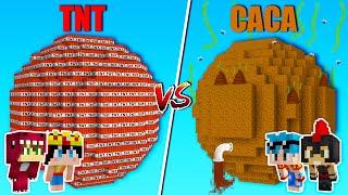 PLANETA DE TNT VS PLANETA DE CACA 🧨💩 MINECRAFT RETO 🌍 BATALLA DE MUNDOS