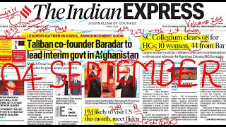 04 september 2021 | The Indian Express Newspaper Analysis Today | Indian Express Newspaper Today screenshot 1