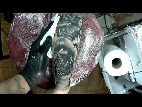 Realism Tattoo Art Amazing Sexy Girl on Motorbike