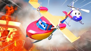 Super Truck is a Fire Plane and helps Franck the Fire Truck to Stop a Fire in Car City