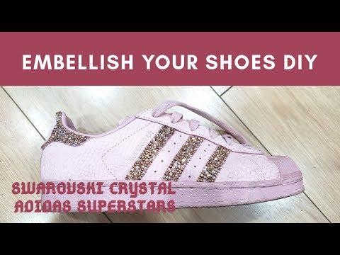 DIY Swarovski embellished shoes   blush pink adidas