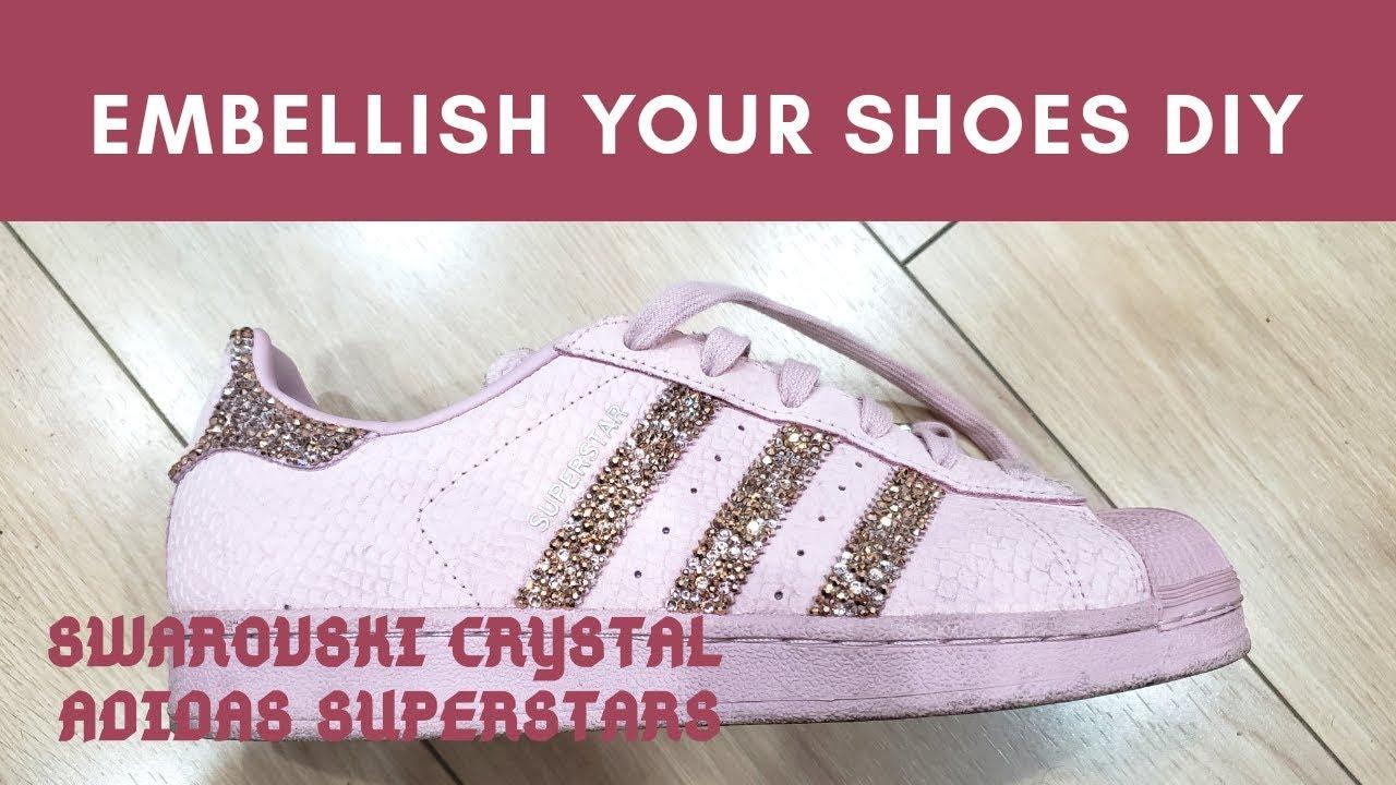 DIY Swarovski embellished shoes   blush pink adidas superstar   make your shoes pop