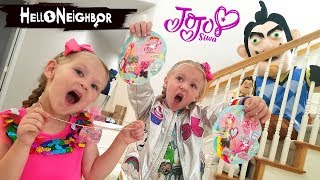 Hello Neighbor in Real Life JoJo Siwa Blind Bags Scavenger Hunt!! Mini Bows and Tags!