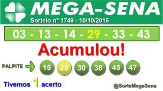 RESULTADO MEGA SENA - 1749 - 10/10/2015 - sábado - SorteMegaSena