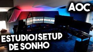 estudio setup de sonho monitores top da aoc tiagovski