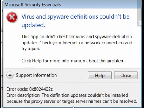 How to fix error code 0x8024402c in Microsoft Security Essentials (Virus and spyware definitions)