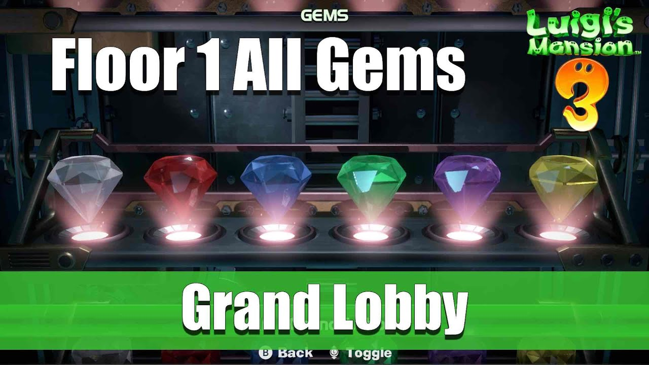 Luigi Mansion Floor All Gems Location Grand Lobby Youtube