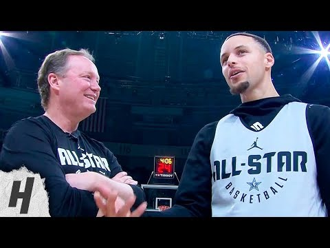 Stephen Curry Talks With Coach Mike Budenholzer | February 16, 2019 NBA All-Star Practice