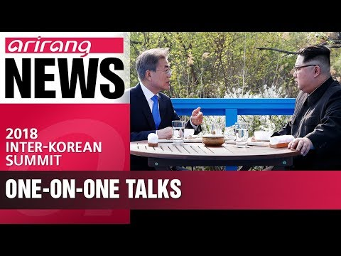 Moon and Kim engage in one-on-one talks before summit agreement signing