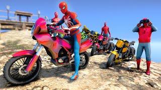 Spiderman Army And Motorcycles Backflip Stunts Challenge Racing Moto Bikes Amazing Spiderman - GTA 5