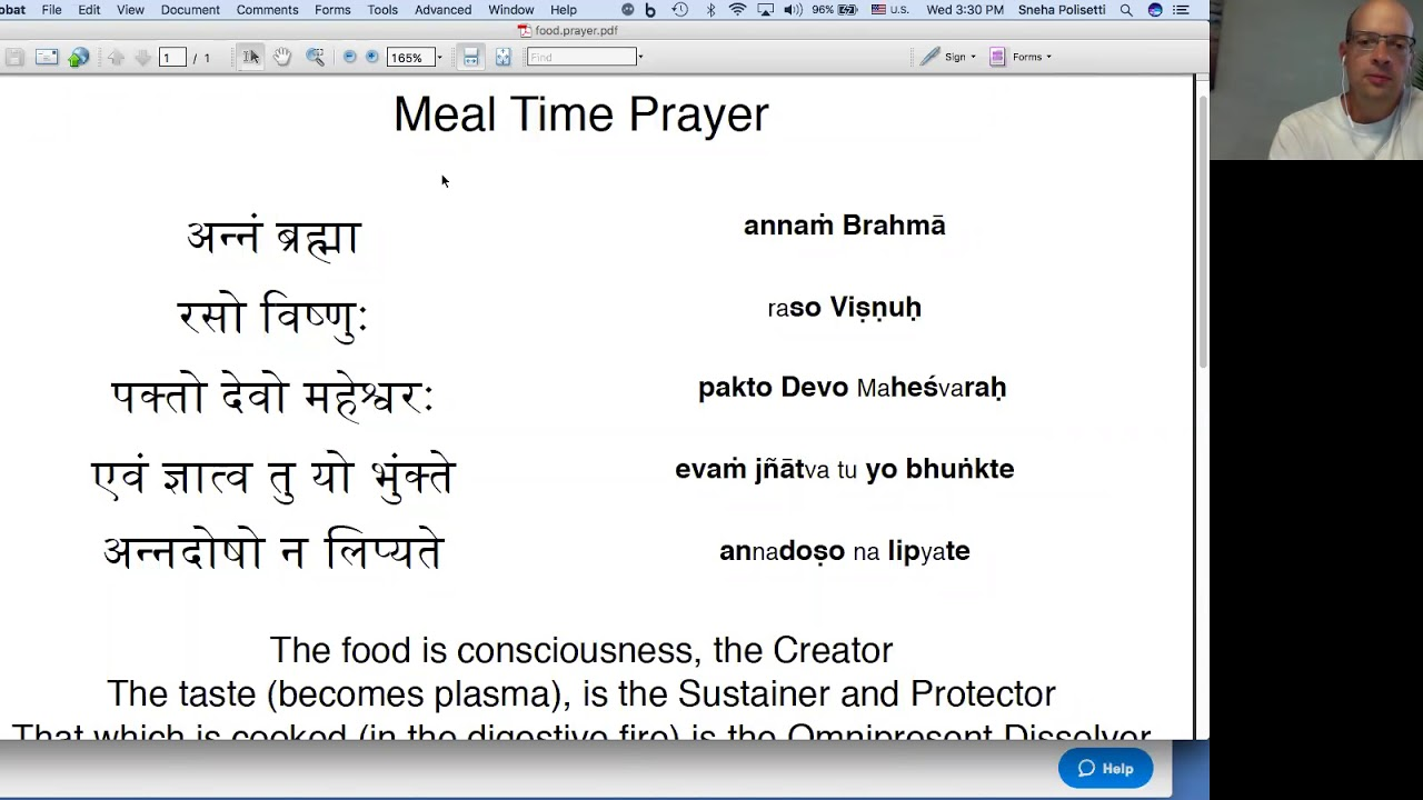 Sanskrit food prayer, meal time prayer, in english and sanskrit