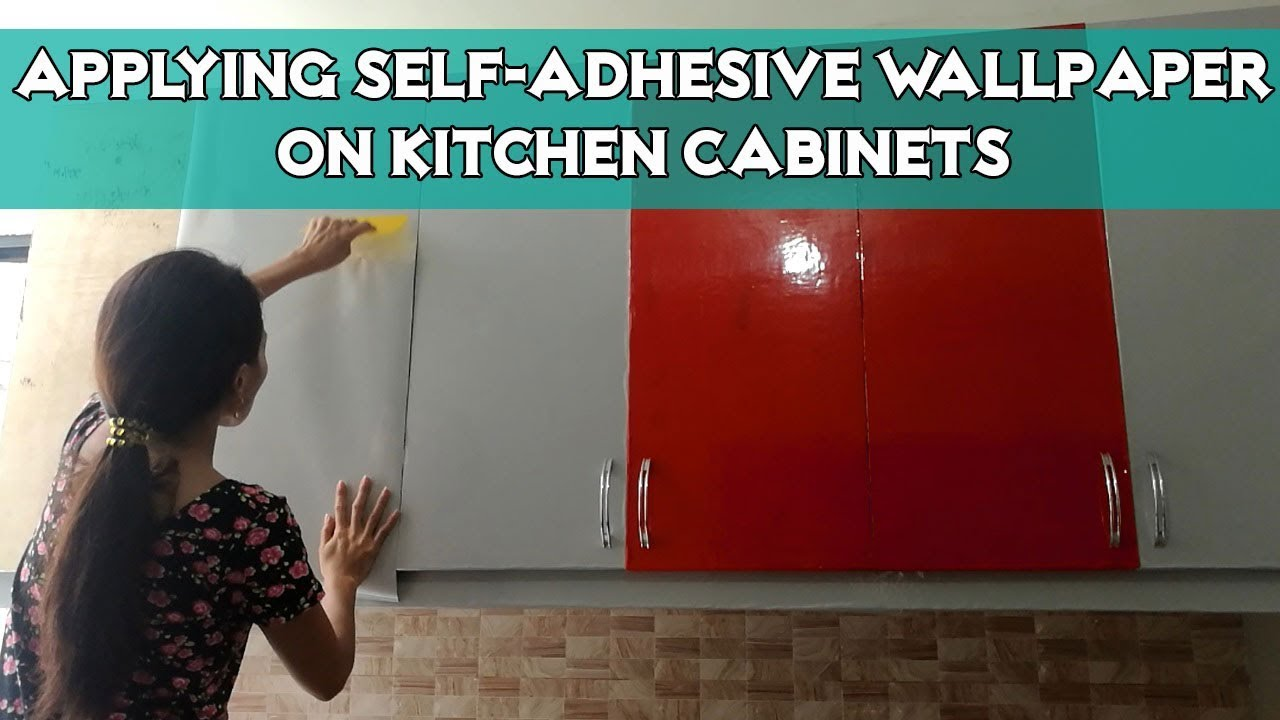 Applying Glossy Self Adhesive Wallpaper On Kitchen Cabinets Youtube Wallpaper For Kitchen Cabinets Self Adhesive Wallpaper Kitchen Wallpaper