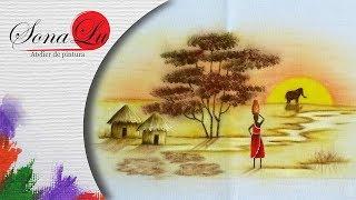 Pintura com Motivo Africano em Tecido