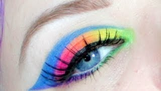 Neon Rainbow Drugstore Makeup Tutorial