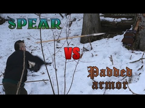 Testing the effectiveness of a spear throw against padded armor